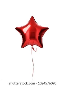Single big red star balloon ballon object for birthday  party isolated on a white background
