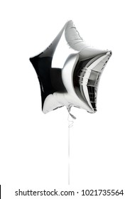 Single big silver star balloon object for birthday  party isolated on a white background