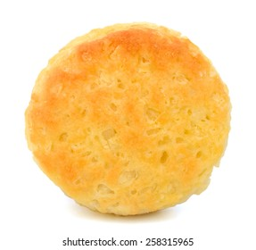 single biscuit on white background