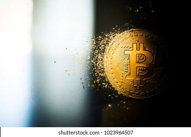 Single bitcoin coin close up on the surface standing