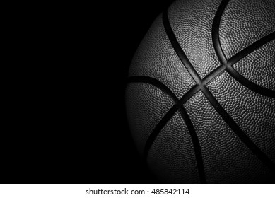 Single black Basketball on background