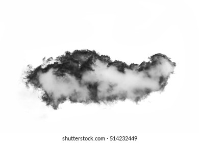 Single black cloud isolated on white background and texture. Ink spot or cigarette smoke cloud, Rorschach test