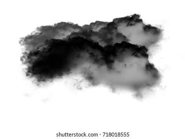 Single black cloud of smoke isolated over white background, realistic smoke 3D illustration. Smoky shape rendering