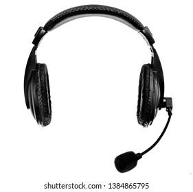 single black headphones on white background, isolated