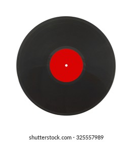 Single black long-play record with red label isolated on white background. Square Photo closeup
