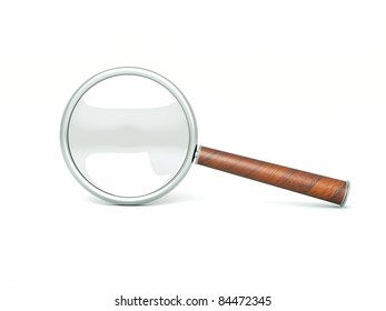 a single black magnifier isolated on white