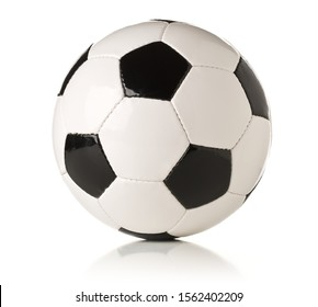Single black and white soccer sports ball over white background