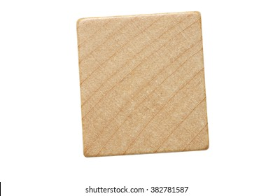 A single blank wooden letter tile piece isolated on a white background.