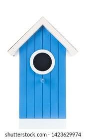 Single blue bird box isolated over white background