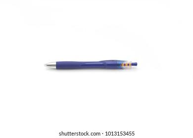 Single blue biro on a white background