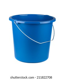 Single blue bucket isolated on a white background