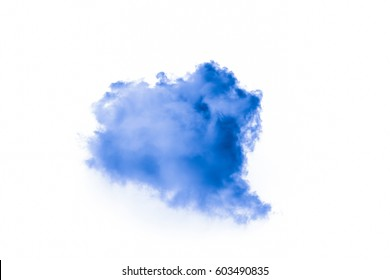 Single Blue cloud isolated on white background and texture. Ink spot or cigarette smoke cloud, Rorschach test