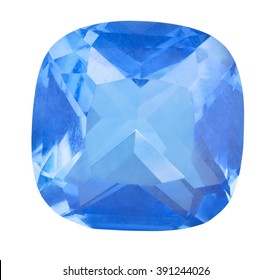 single blue sapphire isolated on white background
