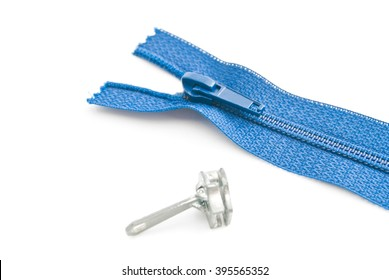 single blue zipper closeup on white background