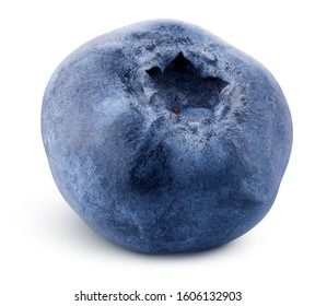 Single blueberry berry isolated on white background. Blueberry with clipping path. Full depth of field.