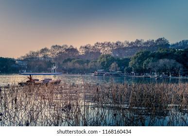 Single boat on the beautiful scenic west lake in Hangzhou, China