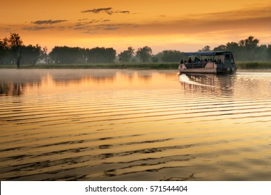 Single boat on Yellow Water billabong in golden dawn light, Northern Territories, Australia