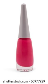 Single bottle of nail polish on white background