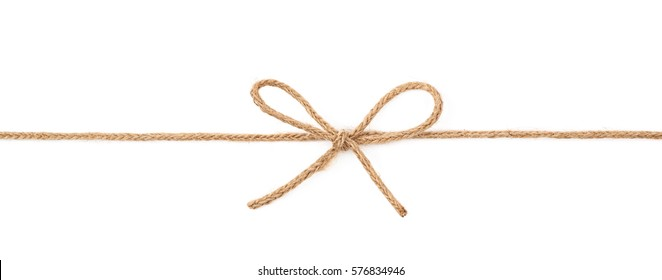 Single bow knot on a linen rope string isolated over the white background