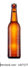 single brown bottle of beer with condensation drops isolated on white background