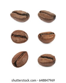 Single brown roasted coffee bean isolated over the white background, set of six different foreshortenings