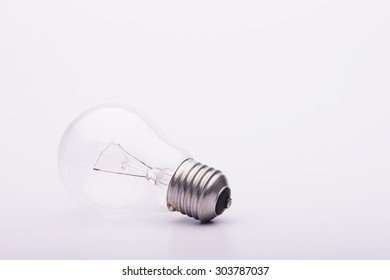 Single Bulb with copy space on white background