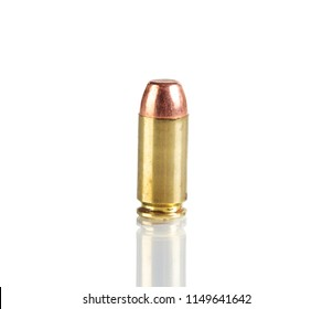 Single bullet isolated on white background with reflection
