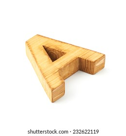 Single capital block wooden letter A isolated over the white background