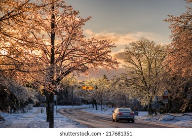 A single car is stopped on the road in an ice covered neighborhood after an ice storm.  The evening sun shines through the ice on the tree branches giving them a beautiful sparkling glow.