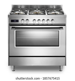 Single Cavity Duel Fuel Range Cooker Isolated on White. Front View Stainless Steel Freestanding Kitchen Stove with Convection Oven. Domestic Major Appliances. Gas Range 5 Burners Cooktop - Shutterstock ID 1857675415