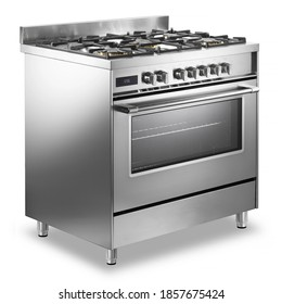 Single Cavity Duel Fuel Range Cooker Isolated on White. Front Side View Stainless Steel Freestanding Kitchen Stove with Convection Oven. Domestic Major Appliances. Gas Range 5 Burners Cooktop