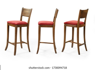 Single chair at different angles on a white background