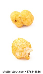 Single cheese flavored orange popcorn flake isolated over the white background, set of two different foreshortenings