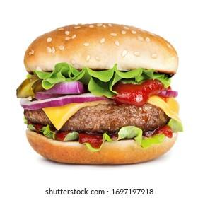 single cheeseburger isolated on white background