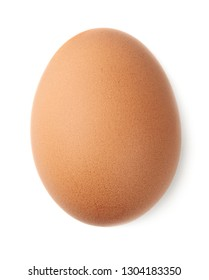 Single chicken egg isolated on white background, top view