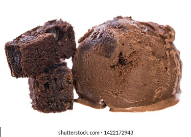 Single chocolate - brownie ice cream ball with brownies isolated on white background front view  real edible icecream, no artificial ingredients used!