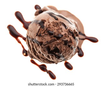 a single chocolate ice cream scoop from above with chocolate topping isolated on white background