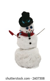 Single Christmas Snowman isolated on white
