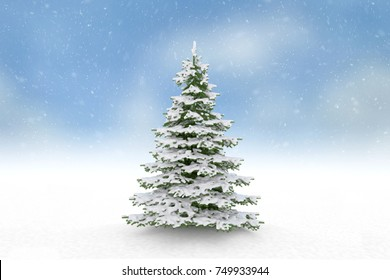 Single Christmas tree with snow and blue sky background