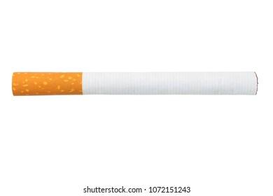 Single cigarette isolated on white background