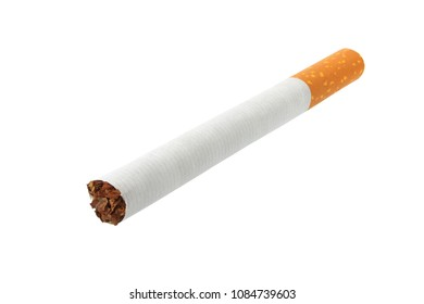 Single cigarette isolated on white background