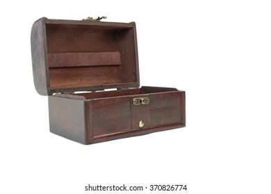 Single Closed Decorative Vintage Old Storage Redwood Box Or Casket Front View Isolated On White Background