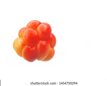 A single cloudberry (Rubus Chamaemorus) picked up in Finland, isolated on white backround
