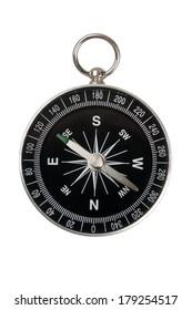 Single compass black on white background