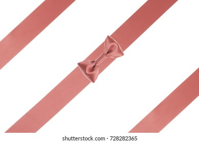 Single coral ribbon bow with parallel ribbon isolated on white