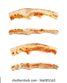 Single crust of a pizza slice isolated over the white background, set of four different foreshortenings