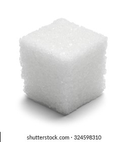 Single Cube of Sugar Isolated on White Background.
