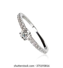 Single diamond ring isolated on white background