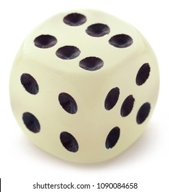 Single dice over white background