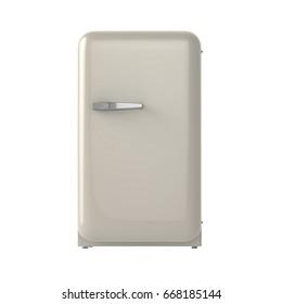 Single door fridge isolated front view. 3D Rendering. Concept model.